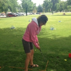 Amy Golfing - Chipping
